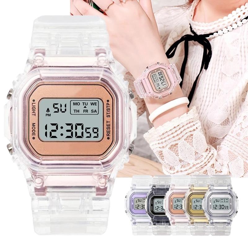 New Fashion Transparent Digital Watch Square Women Watches Sports Waterproof Electronic Watch Reloj Mujer Clock Dropshipping enlarge