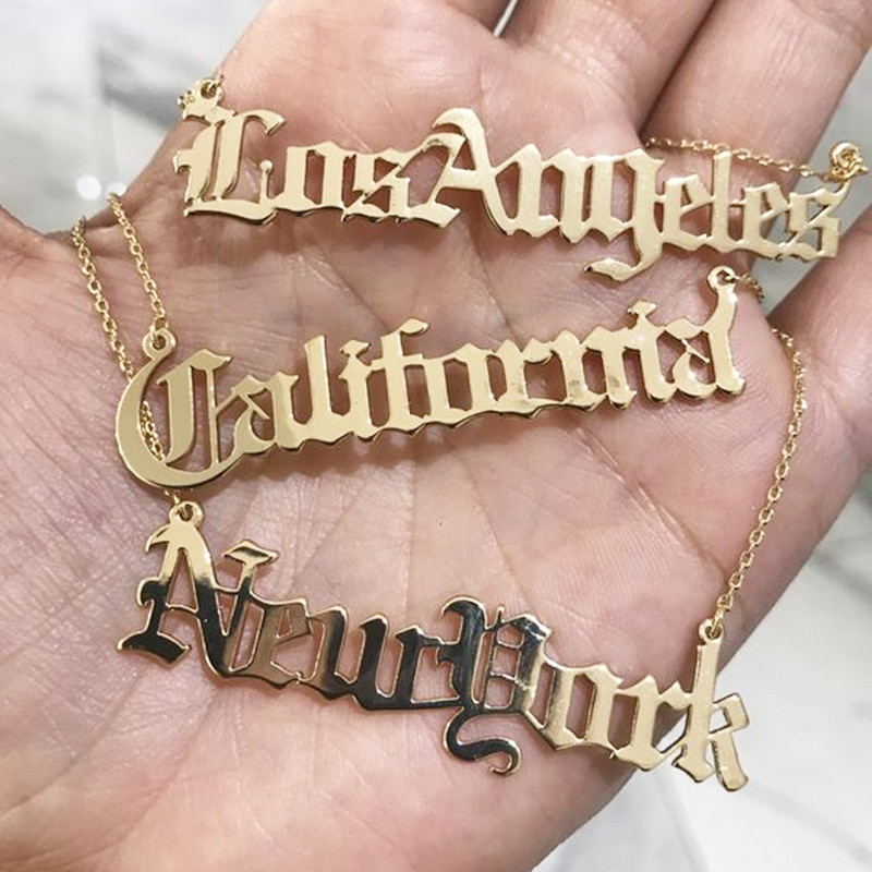 Custom Name Necklace Customized Nameplate Necklaces Personalized Stainless Steel Old English Style Vintage Font Jewelry Gifts personalized old english necklace rose gold necklace custom old english necklace customized name english nameplate necklace hand