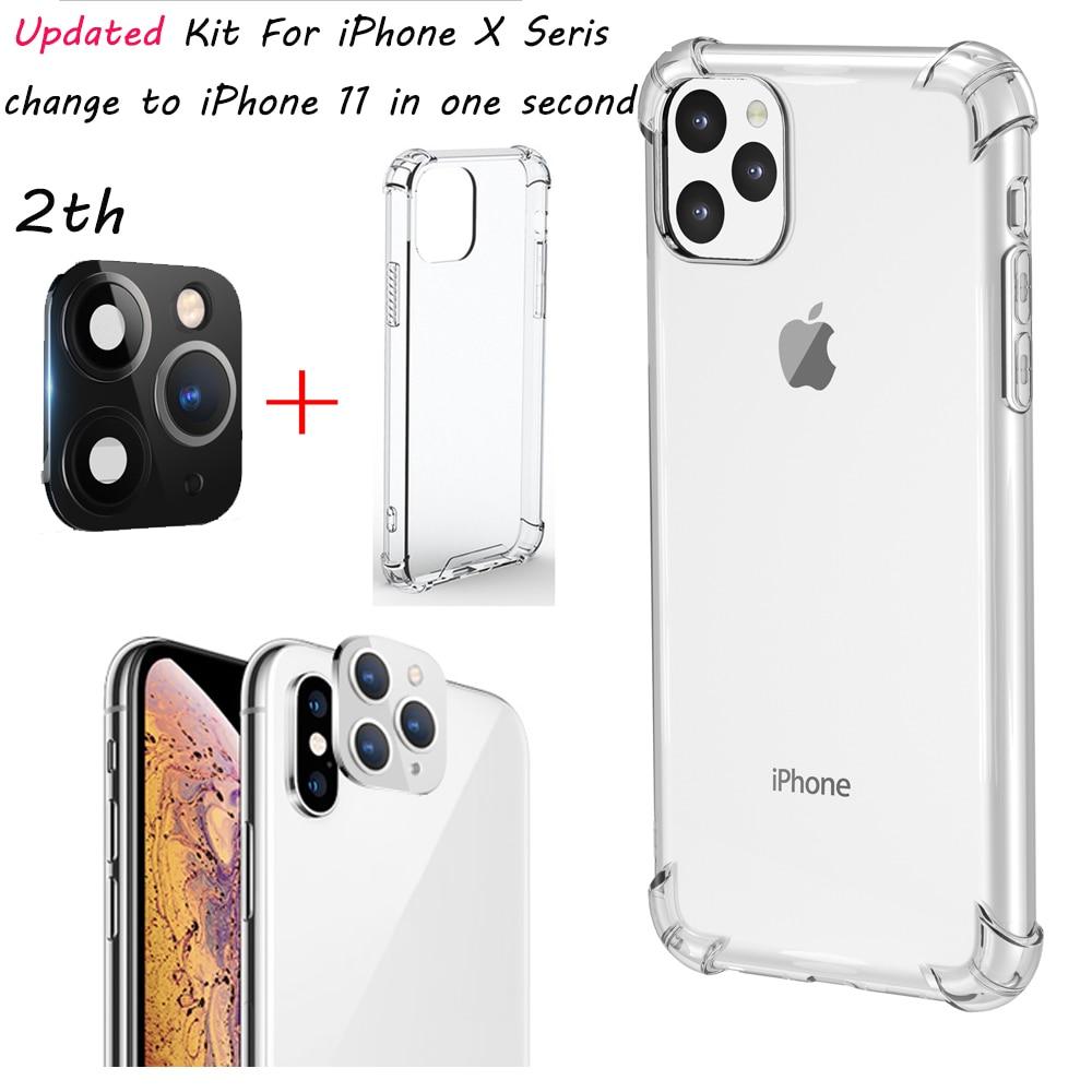 Actualizado para iPhone X Xs Max, película protectora para cámara trasera, Stick con cambio a iPhon 11 Pro Max, falso Protector de cámara trasera con Kit de funda