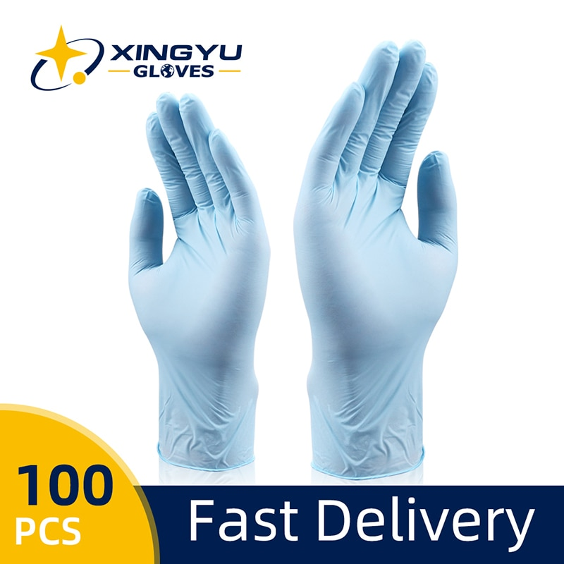 Nitrile Gloves 100pcs/pack Xingyu Blue Food Grade Waterproof Allergy Free Disposable Work Safety Gloves Nitrile Gloves недорого