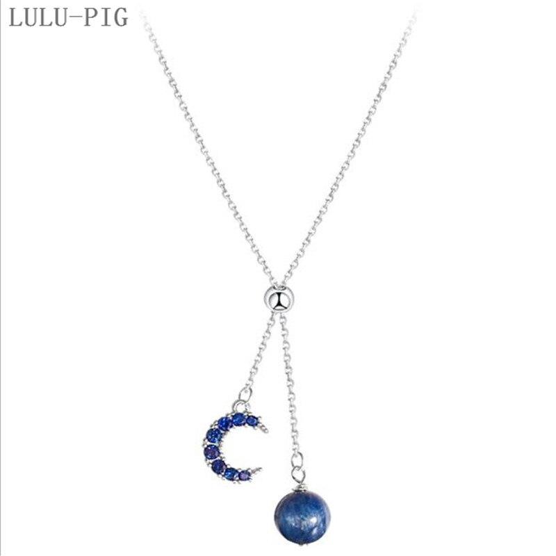 ¡Oferta! Collar lulul-pig de Plata de Ley 925 con microluna azul profundo, collar ajustable con flecos y estrellas para mujer C086