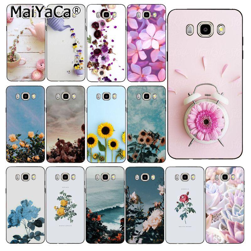 MaiYaCa elegante flor rosa púrpura peonía girasol suave PhoneCase para Samsung Galaxy J7 J6 J8 J4 J4Plus J7 DUO J7NEO J2 J5 Prime