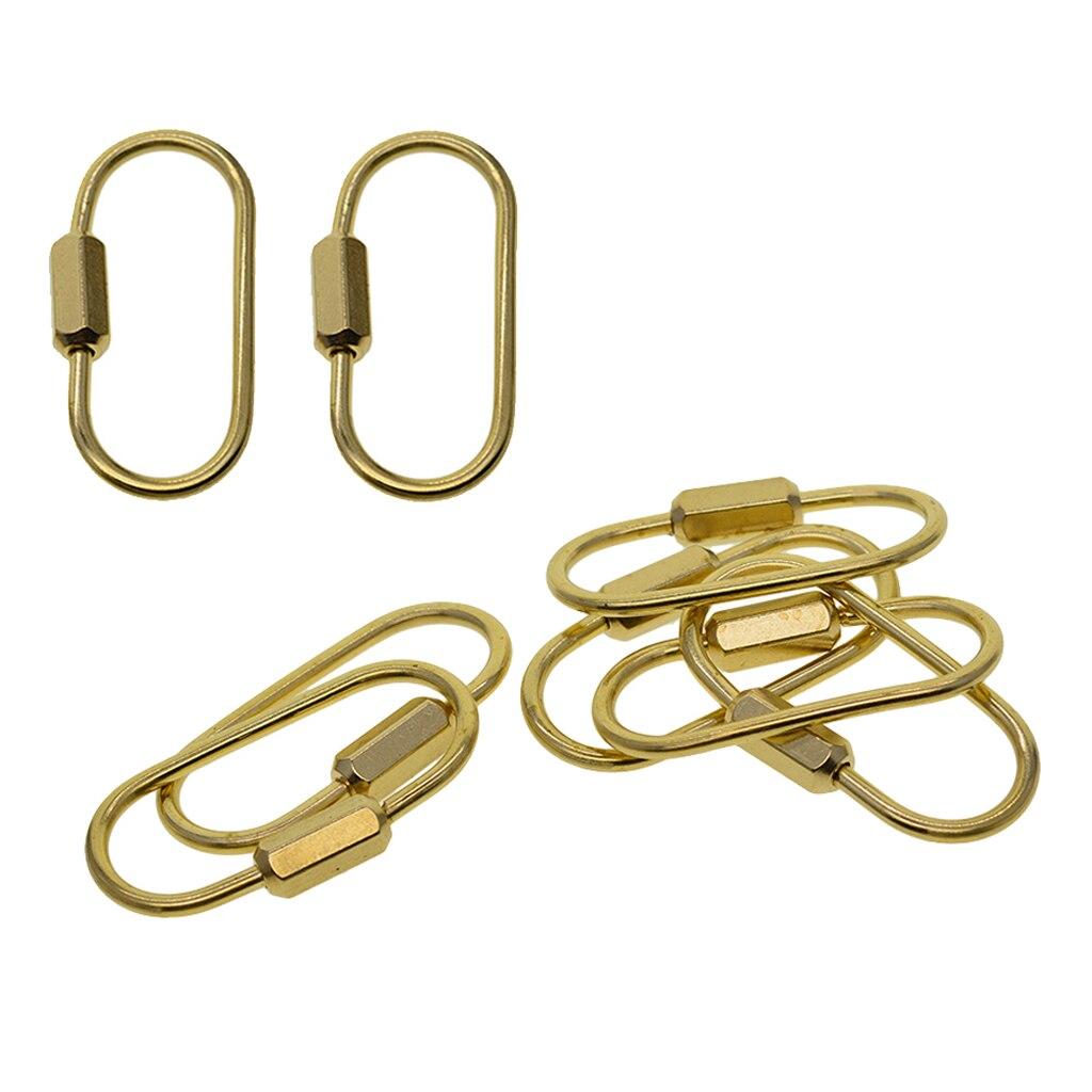 Brass Locking Carabiner Clip Oval Ring Spring Snap Key Chain Hook Screw Gate Hook Travel Metal Carabiners