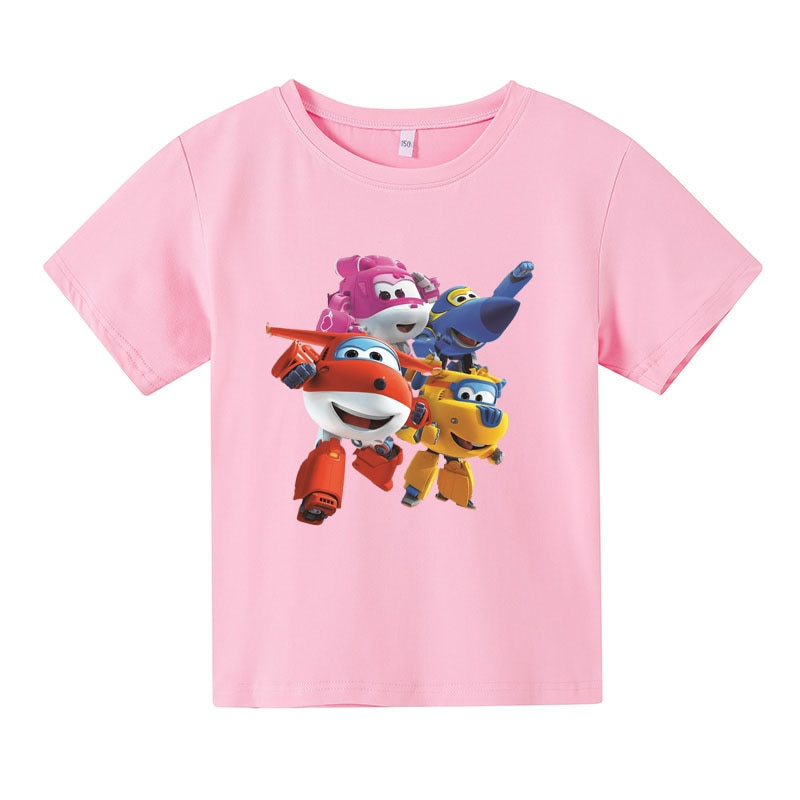 Super wings  Printed T shirts children polyester T-shirts kids summer Short Sleeve  Round Neck Tshirt Fashion Casual girls tops