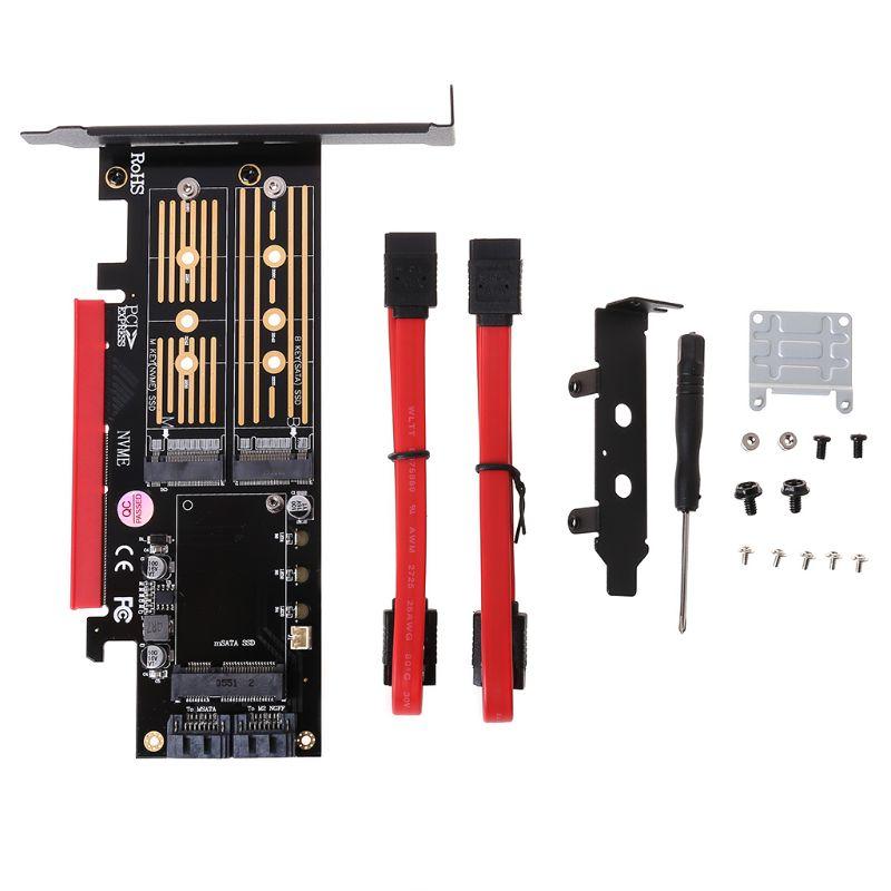 PCI-E 3,0X16 A M.2 SSD PCIE a M2 adaptador fondos M B clave SATA 6 Gb/s 2 x 7Pin Puerto SATA NVME M2 SSD AHCI mSATA 3 en 1 tarjeta vertical