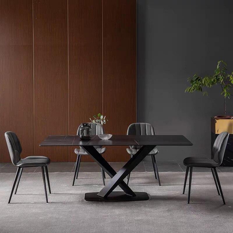 أثاث عصري تصميم بسيط غرفة الطعام مجموعة منضدة حجر ملبدة منضدة رخامية