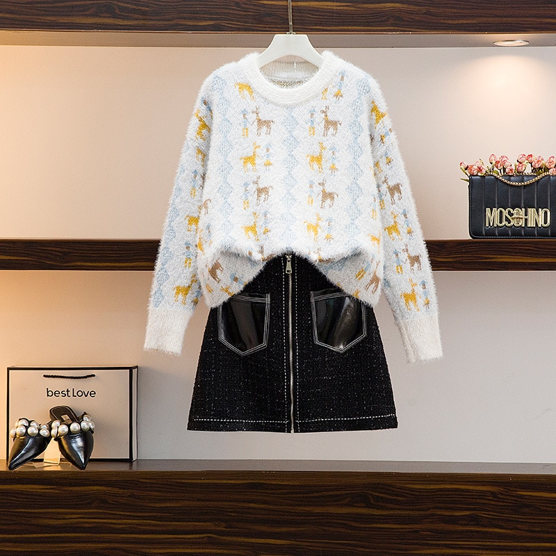 Robe pull en tricot pour femme, ensemble deux pièces de Style coréen, coupe à la taille, amincissant, nouvelle collection printemps automne 2021