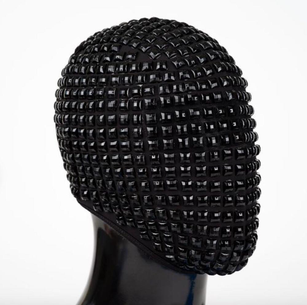 Máscara negra con remaches de Cristales de plata para la cabeza, Bar de discoteca, cantante, bailarina, decoración de rendimiento, accesorios para espectáculos de baile DJ