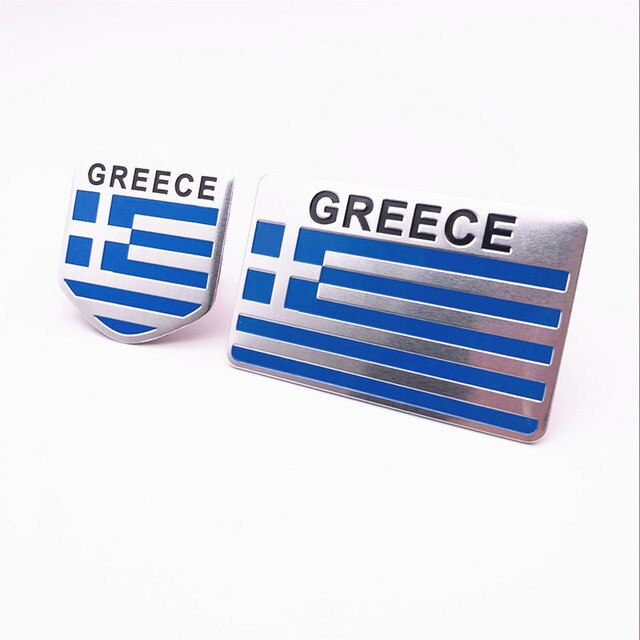 Automobile Motorcycle Exterior Accessories Greece National Flag Aluminum Alloy Car Stickers