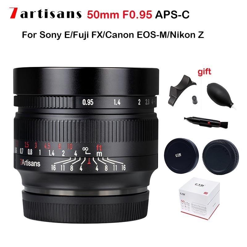 7 الحرفيين 50 مللي متر F0.95 APS-C عدسة الكاميرا فتحة كبيرة عدسة التركيز اليدوي لسوني E/كانون EF-M EOS-M/فوجي فيلم X فوجي FX M4/3