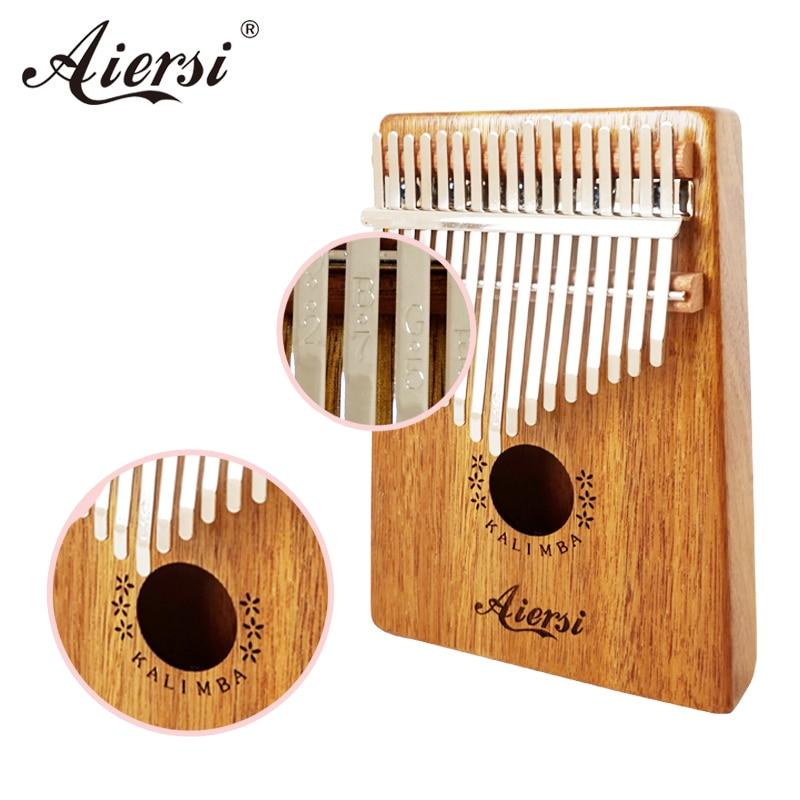 Full Set Aiersi Solid Koa Gecko17 key Finger Kalimba Keyboard Musical Instruments Thumb Piano Calimba With Songbook Hammer Bag enlarge