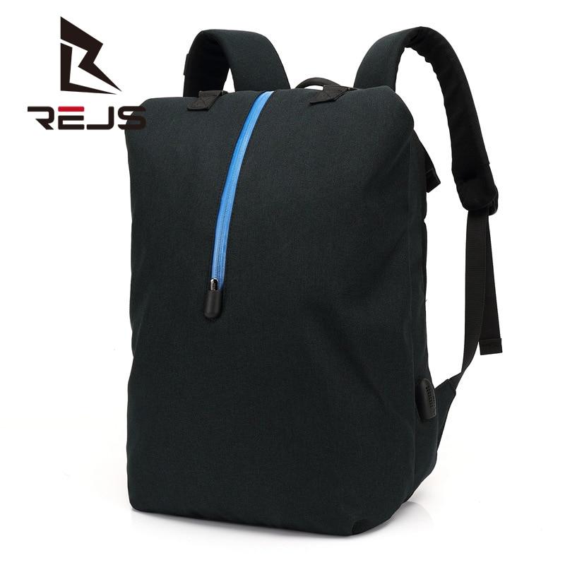 REJS LANGT حقيبة ظهر رياضية مع شحن 15.6 بوصة كمبيوتر محمول حقائب الظهر حقيبة مدرسية عادية مقاوم للماء مكافحة سرقة السفر Mochlia