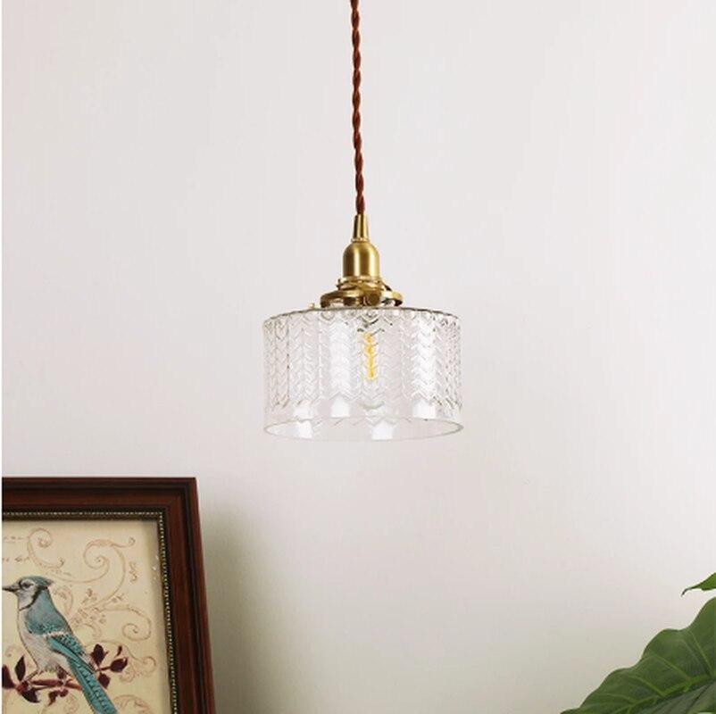 قلادة أضواء تموجات الزجاج قلادة نحاسية مصباح الحديثة قلادة ضوء غرفة نوم النحاس مصباح إضاءة داخلية