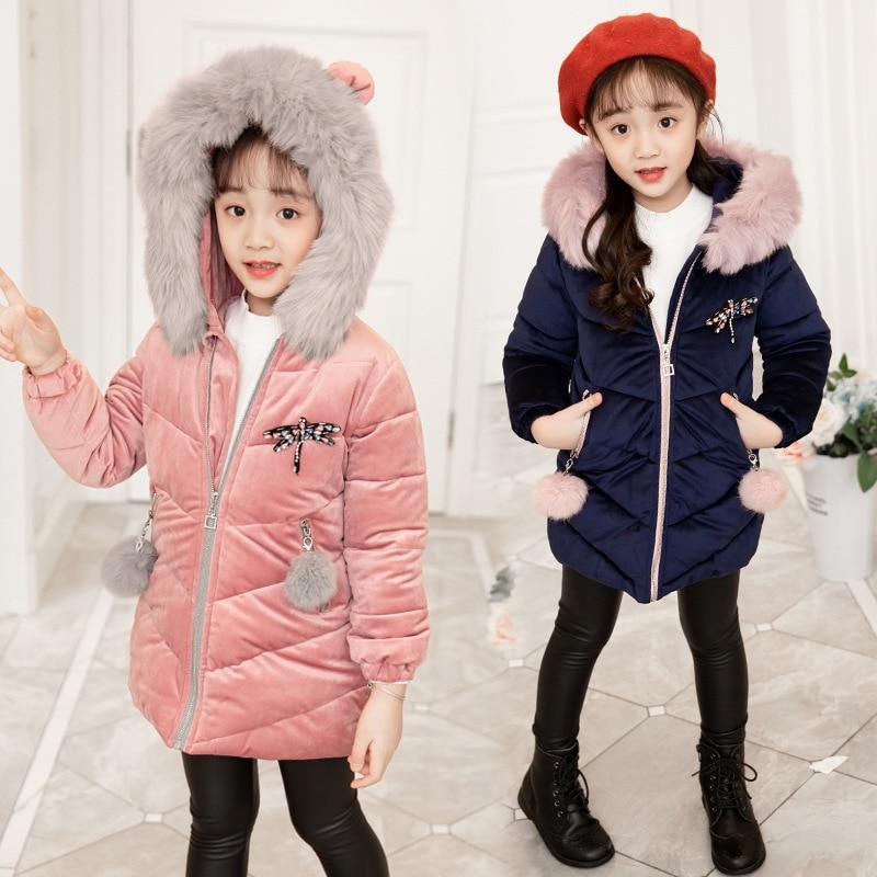 Winter Coat for Girls Ear Hooded Children's Thick Warm Velvet Parka Toddler Kids Down Cotton Jacket Clothes for Girls 3 14 Years