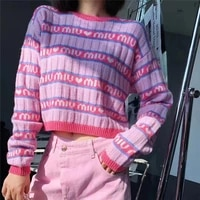 2021 new pink purple short knit sweater womens autumn winter letter brand loose long sleeved knitted top cropped sweater y2k it