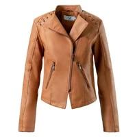 new autumn women faux leather jacket casual soft pu slim black motorcycle punk leather coat female zipper outerwear women coats