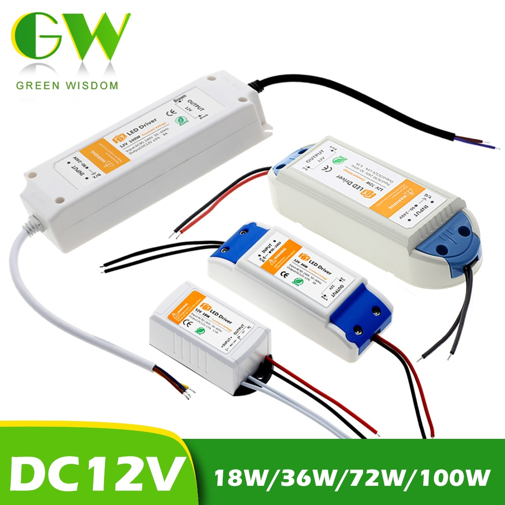 DC12V 18W 36W 72W 100W Lighting Transformers High Quality LED Driver for LED Strip Lights 12V Power