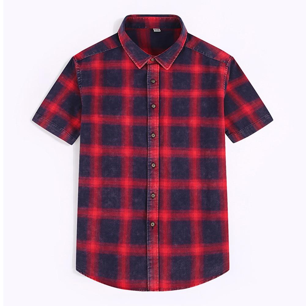 قميص رجالي بأكمام قصيرة ، ملابس صيفية غير رسمية ومريحة ، قماش قطني منقوش ، قميص رجالي بأكمام قصيرة ، جديد لعام 2020