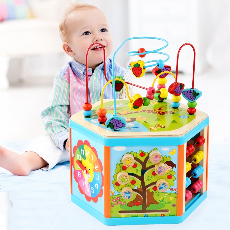 Kids Toys Montessori Wooden Toys 6 Side Intelligence Box Training Game Puzzle Math Toys Baby Early Educational Toys For Children topological game tower of hanoi iq intelligence developer 3d puzzle natural wood math game montessori montessori toys children s toys educational toys children toys montessori toys for children fidget toys