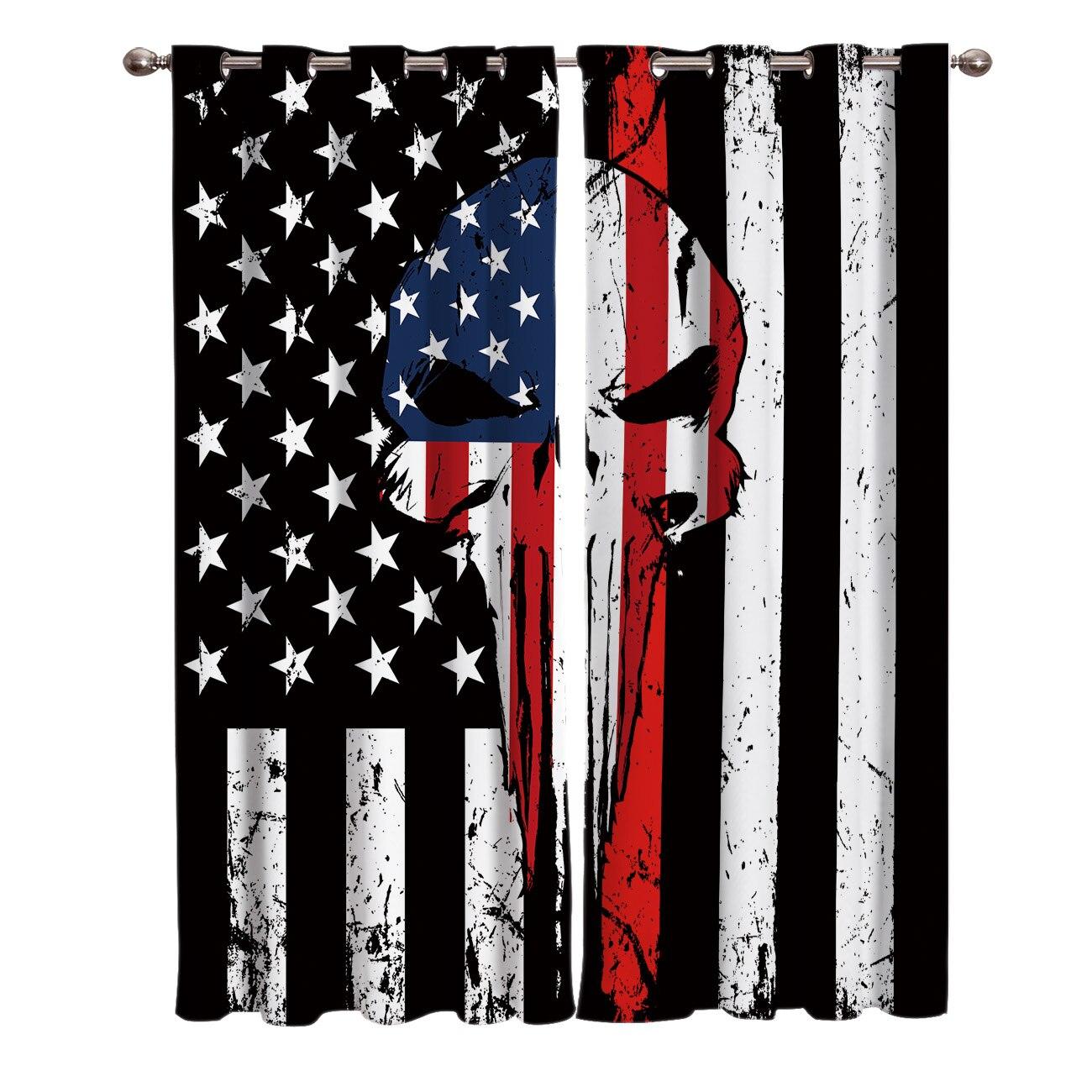 Punisher crânio linha vermelha bandeira americana cortinas do quarto grande janela sala de estar banheiro cozinha quarto interior impressão decoração cortina