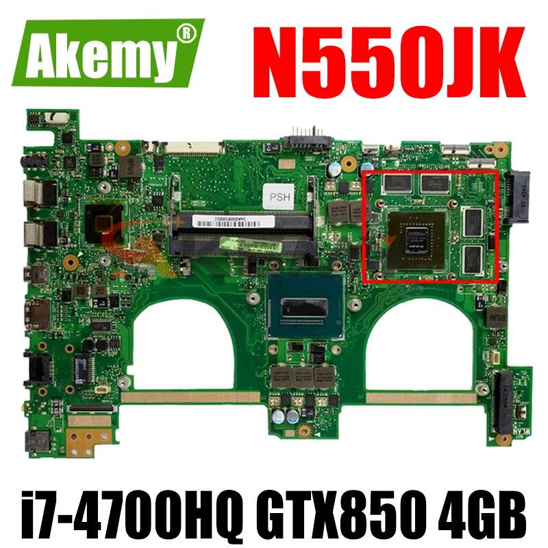 لوحة أم للكمبيوتر المحمول ASUS N550JK N550JV N550JX N550JA اللوحة الرئيسية مع i7-4700HQ GTX850 4GB-GPU 100% تم اختبارها بالكامل
