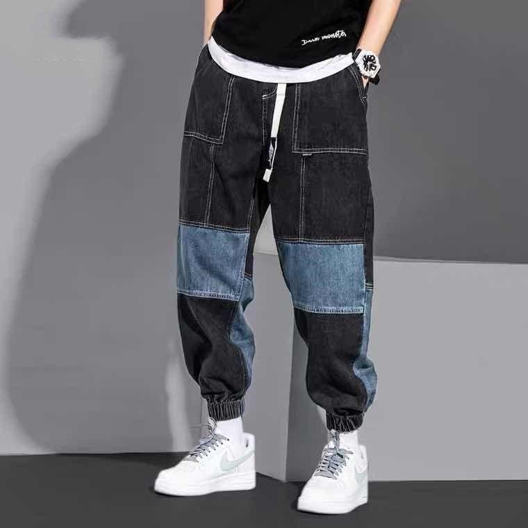 Джинсы мужские тренд в хип-хоп цвет подходящий комбинезон свободного кроя; Брюки от «Harlan» осень мужские брюки больших размеров
