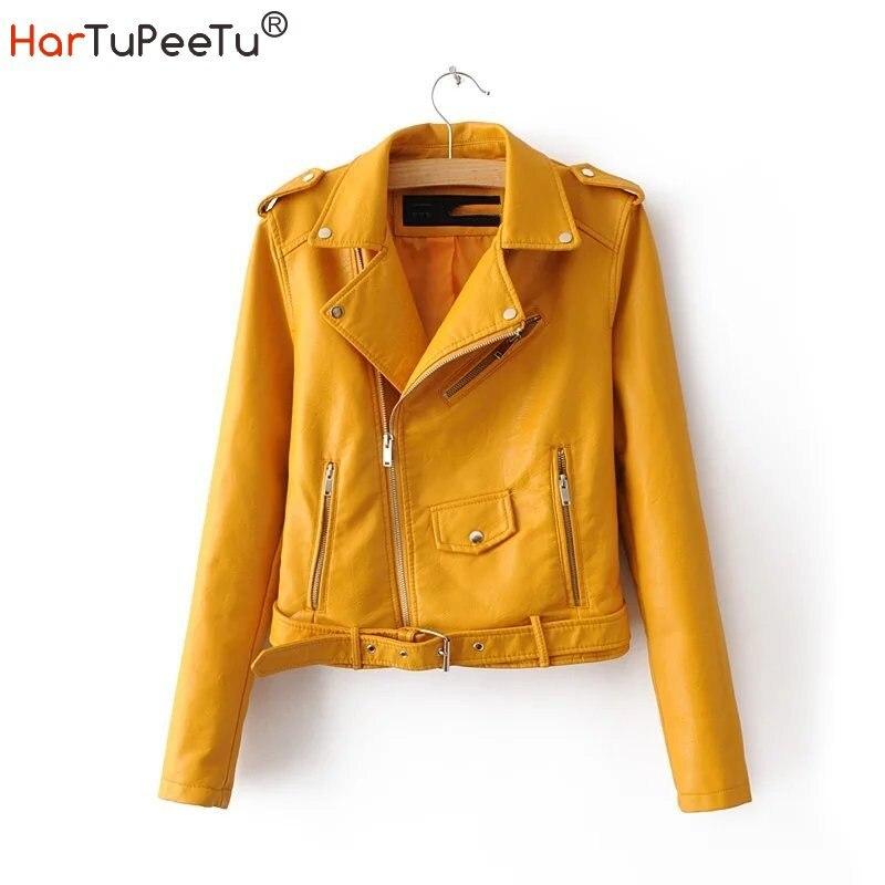 Брендовые женские Куртки из искусственной кожи, мотоциклетная короткая Байкерская верхняя одежда из искусственной кожи на молнии, притале...