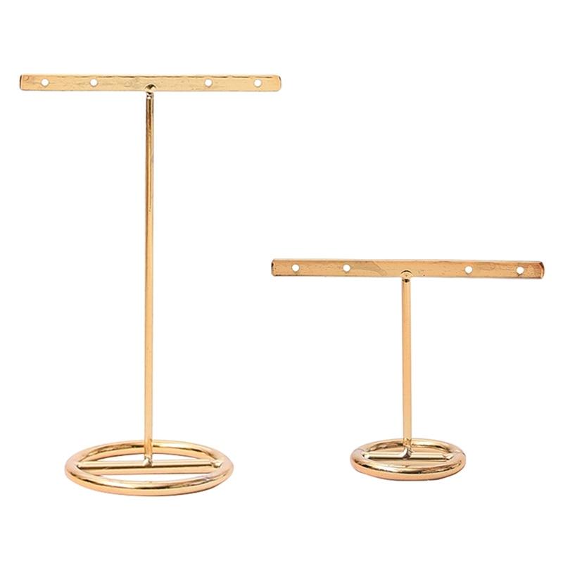 Earrings Display Stand Gold Earrings Display Rack T-Shape Earrings Showcase Golden