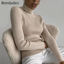 Bornwoman-suéteres básicos de cuello alto para mujer, Tops ajustados, suéter de punto, Jersey suave y cálido, otoño e invierno, 2021