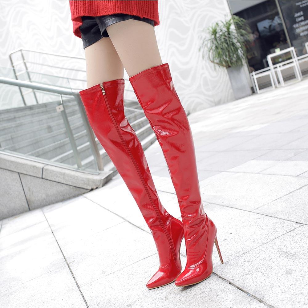 Sgesvier, Botas sexis ajustadas por encima de la rodilla para mujer, tacones de aguja de muslo alto negro rojo, Botas largas de tacón alto para mujer, talla 48 OX679