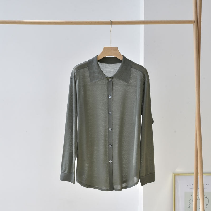 SHUCHAN Thin Wool Cardigan  Button Up Collar  England Style  Vintage Sweater  Single Breasted  Solid  Spring/Autumn New enlarge