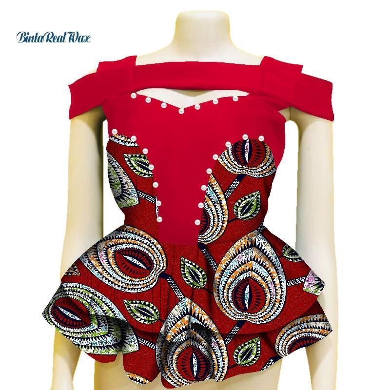 Fashion Shirt African Print Top for Women Bazin Riche Pearls Double Ruffles Top 100% Cotton Dashiki African Clothing WY3605