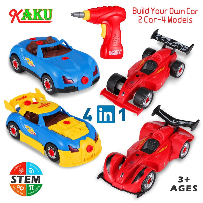 Electric Drill Screws Diy Assembly Racing Car Toys Kit Model Nut Disassembly Match Puzzle Educational Blocks Sets Kids Toy