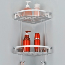 Double-deck Space Aluminum Bathroom Shelf Basket Shower Shampoo Soap Cosmetic Shelve Bathroom Accessories Storage Organizer Rack