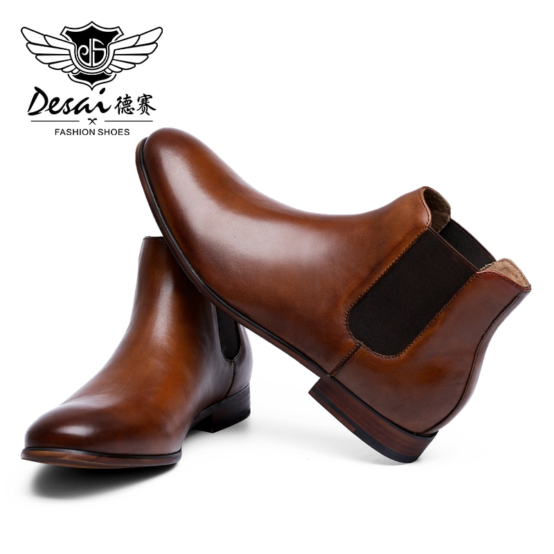 DESAI Wedding Gentleman High Quality Genuine Leather Shoes Mens Boots Chelsea Fashion Shoes For Men 2020 Brown Black Boots