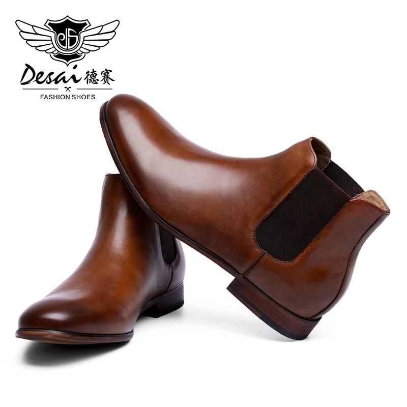 DESAI zapatos de cuero genuino de alta calidad para caballero de boda botas para hombre Chelsea zapatos de moda para hombres 2020 botas marrones y negras