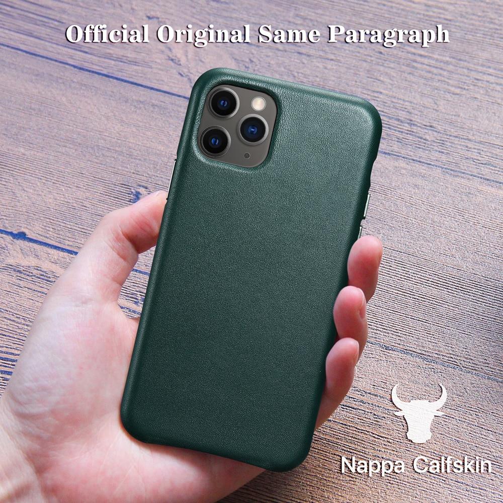 Caso de couro genuíno para o iphone 12 pro max 11 xs max mini 7 8 plus x xr oficial estilo original luxo vaca casos telefone capa