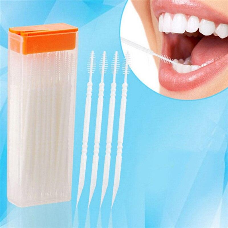 Cepillo de doble cabezal portátil de 50 Uds., palillos dentales de plástico Interdental, palillos dentales para el hogar, palillos dentales para Hotel, cuidado bucal