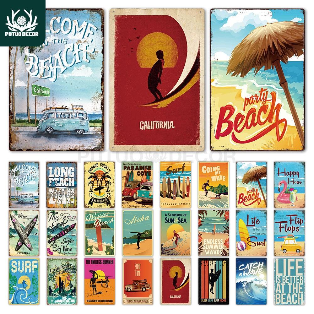 Beach Tin Sign Plaque Metal Summer Sign Metal Plate Wall Decor for Beach Bar Beach House Surf Club Decorative Iron Painting