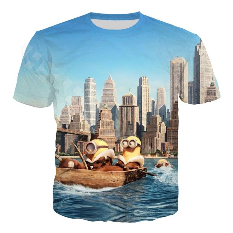 Anime Cute Minions T Shirt Fashion Mens Clothing Cartoon T Shirt 3D Print Funny Casual Men Women Short Sleeve T Shirt Tops T132