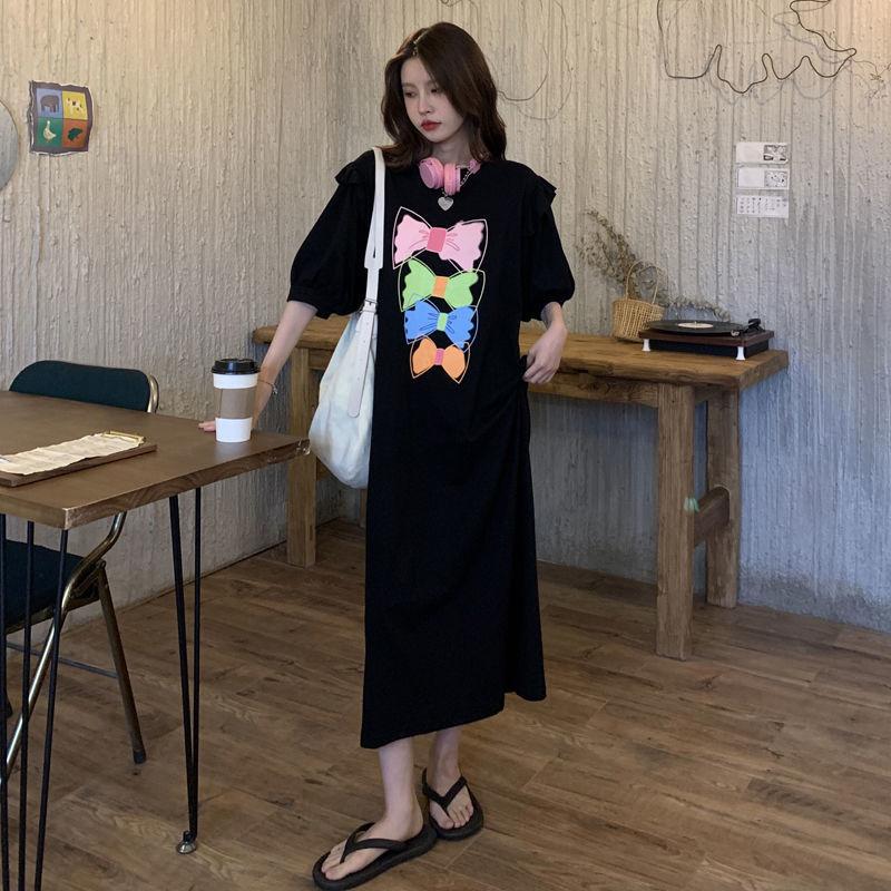 Vestido de verano con dibujo de lazo para mujer y camiseta de...