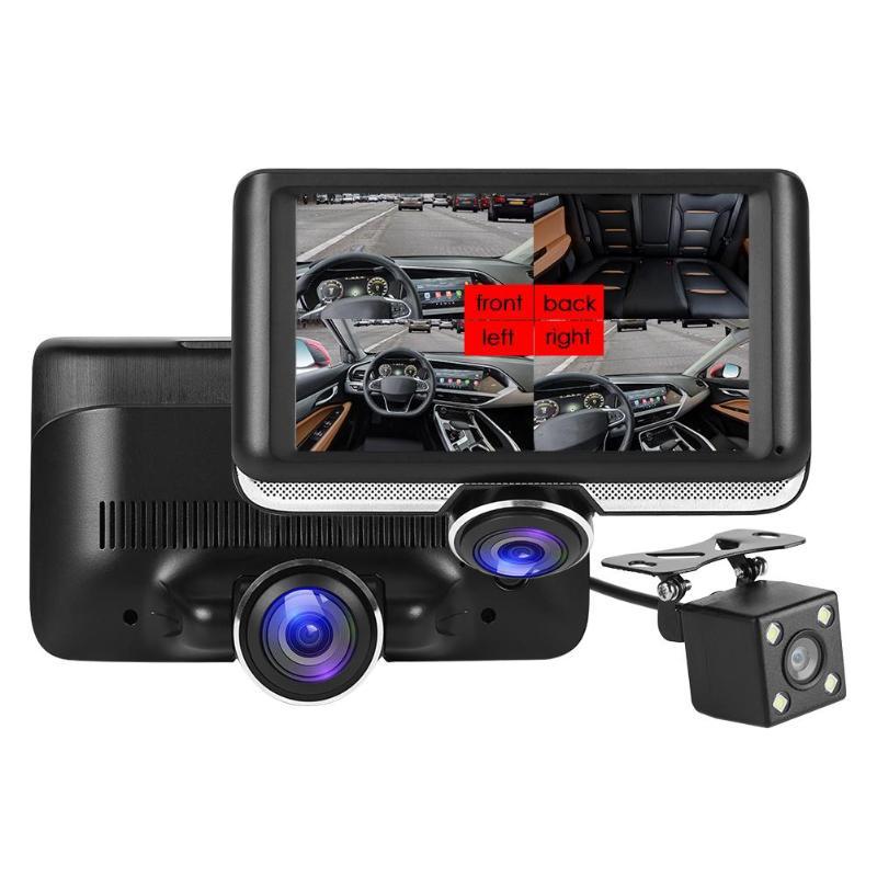 VODOOL 4,5 pulgadas pantalla 360 grados panorámica coche DVR Cámara FHD 1080P lente Dual cámara de salpicadero grabadora de vídeo de coche visión nocturna Dashcam