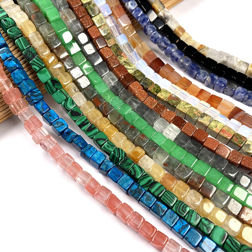 Natural Stone Agates Crystal Aventurine Jades Beaded Square Shape Scattered Beads For Jewelry Making Necklace DIY Bracelet Gift  - buy with discount