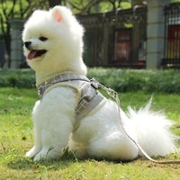 2021medium dog harness reflective breathable chest strap plaid teddy bichon pet clothes supplies dog chain leash printed vest