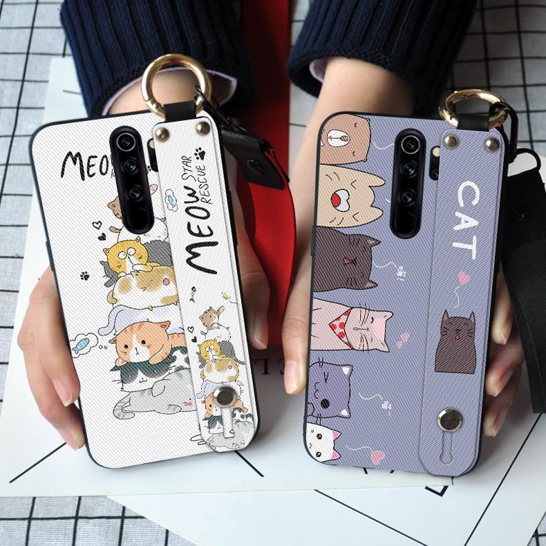 Gato bonito macio silicone caso de telefone para xiaomi redmi nota 8t 5 6 7 8 pro redmi go k20 7a 8a s2 linda pulseira tpu capa traseira