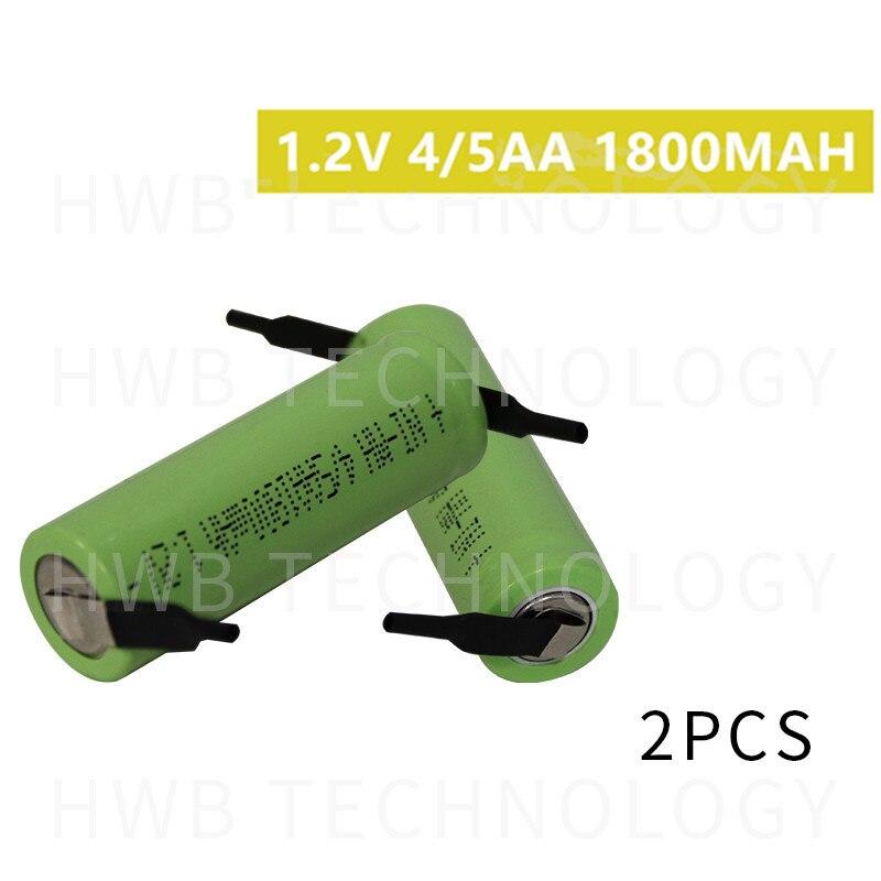 2 unids/lote KX Original nuevo 1,2 V 4/5AA 1800mAh Ni-Mh 4/5 AA Ni Mh batería recargable con Pins envío gratis