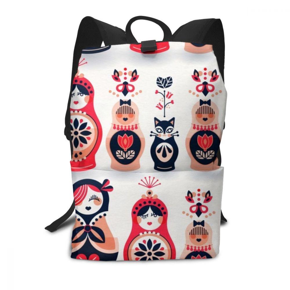 Mochila de muñecos rusos mochila de muñecos mochila multifunción bolso de tendencia patrón de calle adolescentes bolsas de alta calidad