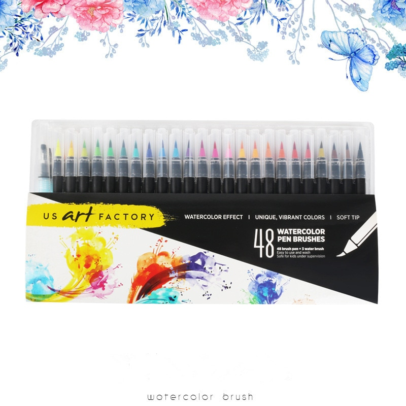 48PCS Colors Art Marker Watercolor Brush Pens for School Supplies Stationery Drawing Coloring Books Manga Calligraphy