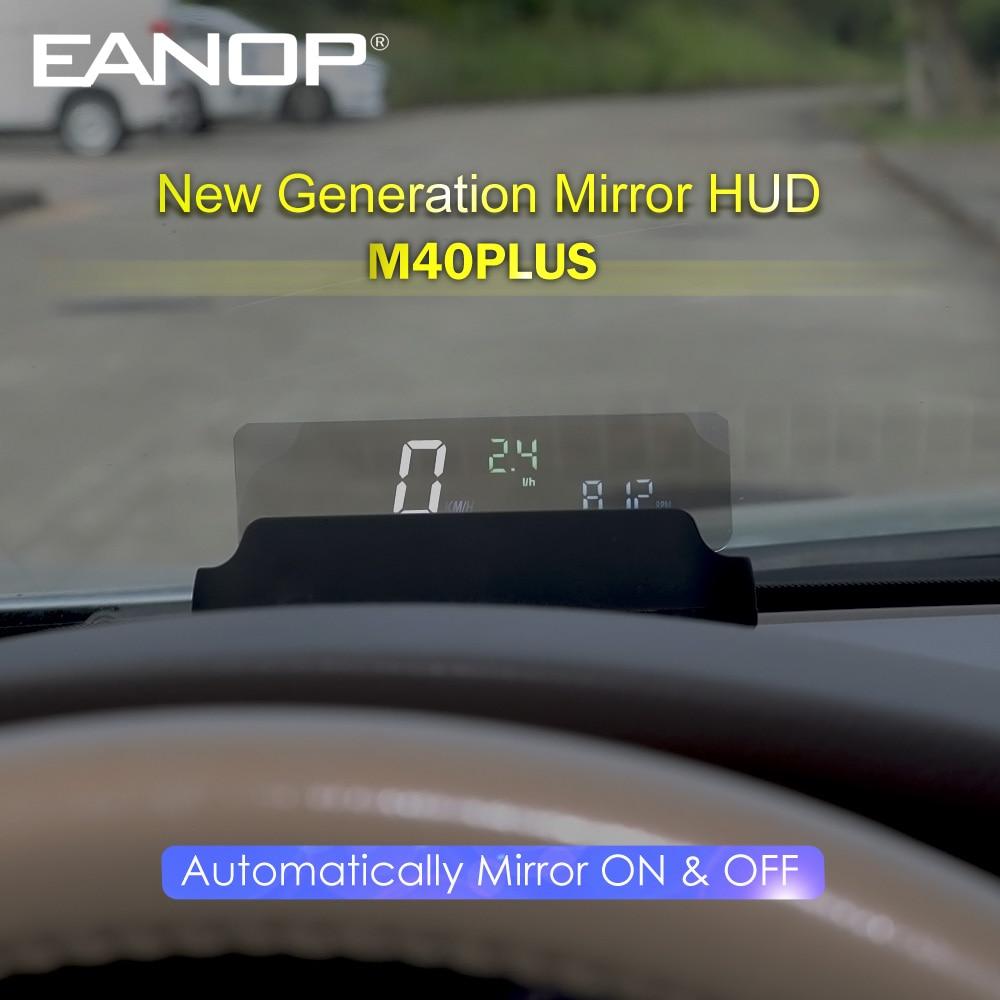 EANOP M40PLUS مرآة هود رئيس يصل عرض OBD2 Winshield عداد السرعة RPM سرعة العارض استهلاك النفط APP سيارة accossorriess