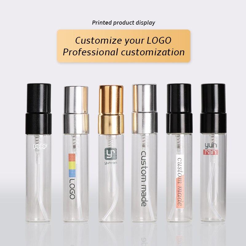 شعار مخصص مجاني 100 أجزاء/وحدة 5 مللي زجاجات عطر الزجاج المحمولة البخاخة المحمولة علبة مستحضرات التجميل مع مضخة الألومنيوم